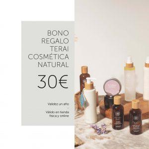 bono regalo de Terai cosmética natural para usar en tienda física en Bilbao o en tienda online