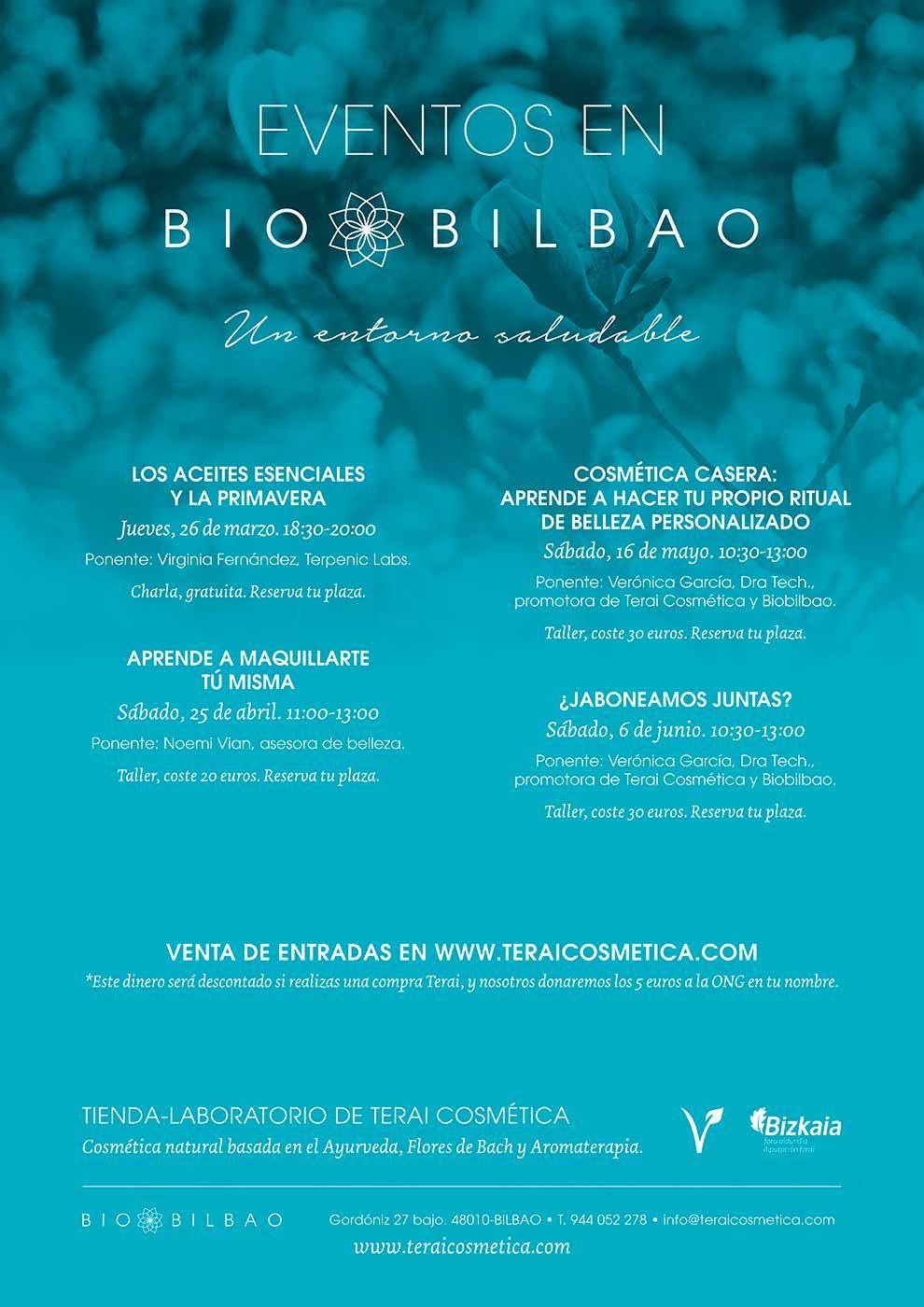 Temporada Primavera 2020: Charlas y Talleres en Terai Cosmética Natural en Bilbao
